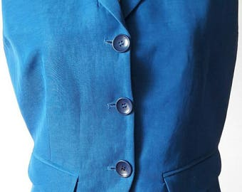 Vintage 80s Byblos made in Italy gilet deep sky blue linen and acetate fabric 2 real pockets Taylor made accurate details perfect condition