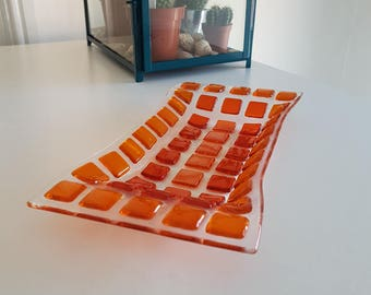 Handmade Fused Glass Dish - Orange