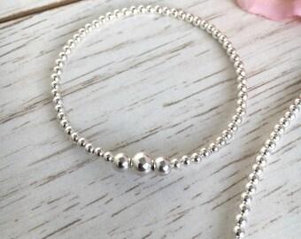 Sterling Silver Bracelet - Sterling Bracelet - Silver Bracelet - Beaded Bracelet - Birthday Gift - Elastic Bracelet - Gift for Her