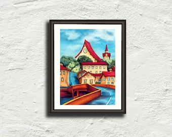 Poster art landscape painting - Street red roofs houses village blue - naive art - painting - art print - digital wall art
