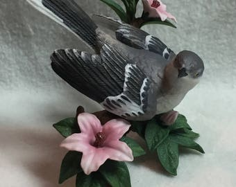 Lenox Northern Mockingbird with Pink Lilies (#042)