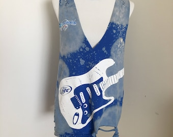 Bleached Distressed Guitar Tee