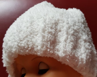 White fluffy, Child's Beanie hat, Hand knitted soft fluffy White, Mixed fibre yarn, Handmade, Designed, Gift, Child's head warmer, Soft/Cosy