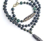 Bracelet and necklace set with powerful DZI beads and green African jasper black obsidian lava stone and moss agate