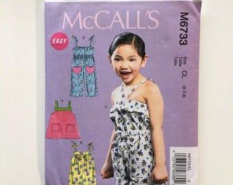 McCalls 6733 Girls Rompers Jumpsuit Sun Dress Size 6 7 8 Uncut Sewing Pattern