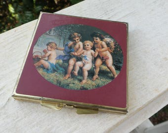 Vintage Cherub Compact with Mirror and Pill Organizer