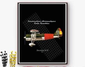 Airplane poster Dewoitine D. 37/downloadable files JPG/PNG/Arte Wall/50%/ciber mondayNavidad Online poster.