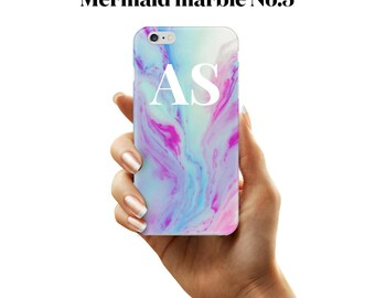 Initial marble phone case mermaid pastel no.5 for iphone & samsung galaxy devices