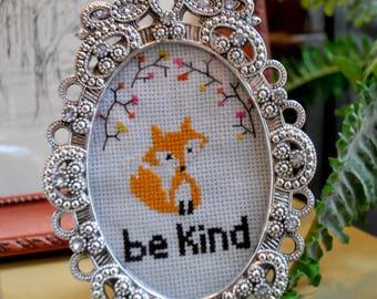 Cross Stitch Fox- Be Kind