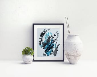 Original Abstract Painting on Paper 11x15 with black  teal  gray  UNFRAMED  artwork