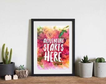 Adventure starts here - poster print, typography print, rainbow art, stylish wall art