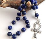 Lapis Lazuli Ankh Pocket Prayer Beads // Egyptian // Isis // Nut // Hathor