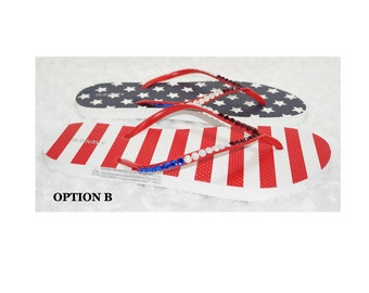 American Flag Flip Flops Embellished with Red, White & Blue Crystals