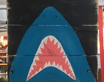 Jawsome Shark art, Shark painting, Coastal Decor, Ocean art, Coastal patio art