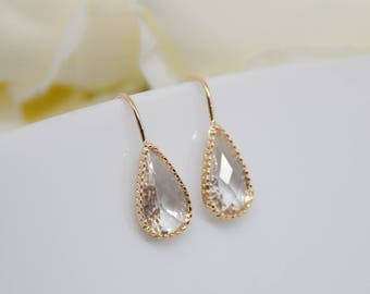 Earrings yellow gold drop Crystal
