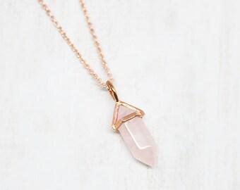 Necklace Rosegold Small Rose Quartz