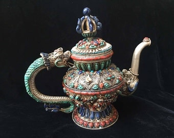 Masterpiece Nepal Pure Silver Gem inlay lapis coral turquoise Dragon Teapot