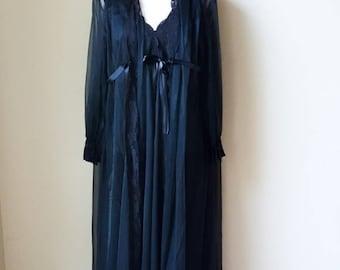 Vintage Miss Eleine Black Sheer Nightgown & Robe