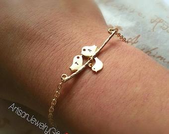 Gold Love Birds Initials Bracelet With Baby Bird Personalized Bracelet