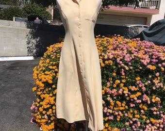 Vintage Soft Yellow Linen Blend Sleeveless Collared Button Down Dress -Small