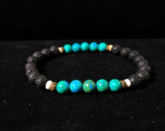 Mens Blue Sea Sediment Bracelet Black Lava Rock Chakra Balance Strength Grounding Stone Gift for Him