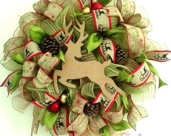 Deco Mesh Christmas Wreath, Deer wreath, Weinachtskranz, from Europe
