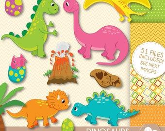 Dinosaur Clipart, commercial use, dinosaur digital clip art, Volcano, Tyrannosaurus Rex, prehistoric clip art, CL0040