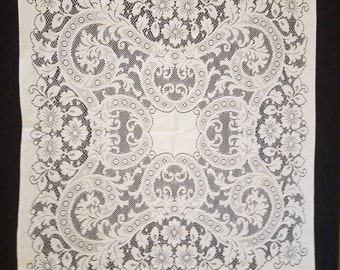 VTG Lace Tablecloth Large Square Doily Dresser Scarf