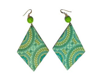 Molded wood earrings green/blue resin beads with gold plated earwires magma and style