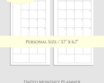 "2017 and 2018 Dated Monthly Printable Planner Inserts, Monday-Sunday, Monthly Calendar Pages ~ Personal / 3.7"" x 6.7"" Instant Download (MMS)"