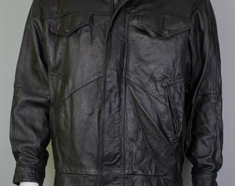Vintage Leather Jacket - Leather Jacket - Mens Leather - Vintage Leather - Bomber Jacket - Bomber Leather Jacket - Flight Jacket - 80s