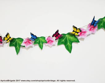 Printable Butterflies Garland, Butterfly Party Decor, Butterfly garland bunting, Buttefly Banner, Fairy Party Decorת, Leaves Banner