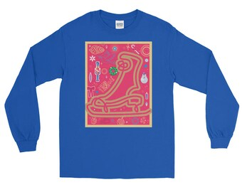Christmas Skate Collage Long Sleeve T-shirt | Holiday Art | Unisex Gift Tee | Seasons Greetings