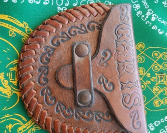 Vintage Tooled Leather Coin Purse Chris Koru New Zealand Made