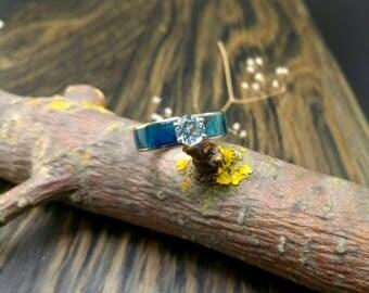 "Wood ring ""Linewood"" (neusilber & topaz)"