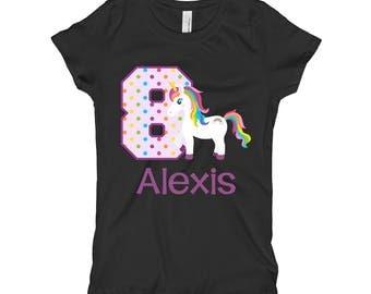 Unicorn Birthday Shirt- 8th Birthday Shirt - Eighth Birthday Shirt 8 - Unicorn Birthday Party - Girls Birthday Shirt - Purple Black Shirt