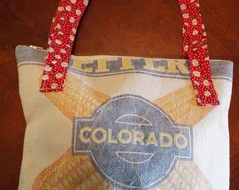 Vintage Colorado Chicken Feed Bag Red Calico Daisy Seed Corn Purse Tote Handbag