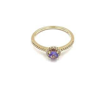 Size 6.5 - 14k yellow gold diamond tanzanite ring