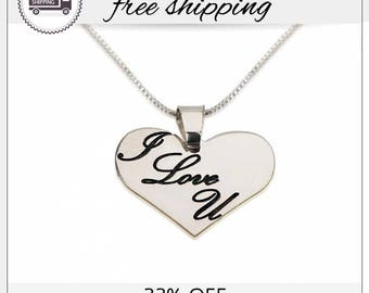 22% Off -  I Love You Necklace, Heart Necklaces, Love Necklace, Gift For Her, Girlfriend Gift, Anniversary Necklace, Valentine's Day