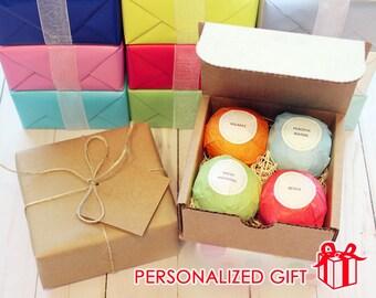 4  Natural Bath Bomb Gift Set, Organic Ingredients, Essential Oils, Bath Bomb Set, Bath Salts, Premium Quality, Bath Fizzies