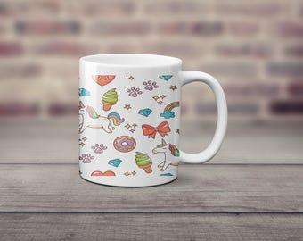 Unicorn Coffee Mug, Fun coffee mug, Donut Coffee Mug, Gifts for Her, Ice Cream Coffee Mug, Funny Coffee cup, Rainbow Unicorn coffee mug