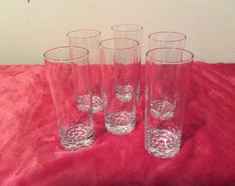 6 Vintage Crystal Beverage Glasses    #353