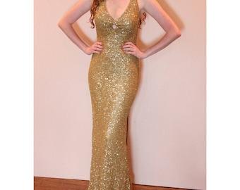 VINTAGE 90's Scala Gold Beaded Dress