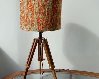 Paisley lamp shades etsy matico indian printed fabric orange and cream paisley print retro style drum lampshade aloadofball Choice Image