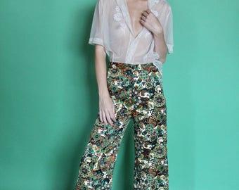 Paisley Pant, Vintage Trousers, Woman's Pants, Wide Leg Trousers, Floral Pant, 70s Wide leg, Paisley Bells, High waist Pant, Womans 2
