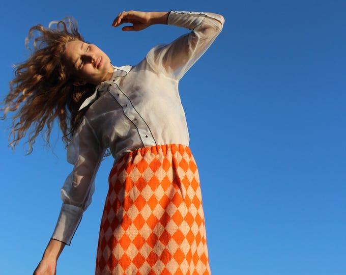 Featured listing image: Woman's 60s Fall High Waist Skirt, Peach Orange skirt, Medium