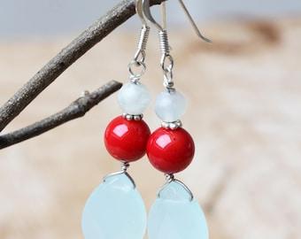 Amazonite Briolette Earrings, Faceted Blue Gemstone Earrings, Long Dangling Amazonite Earrings, Amazonite Briolette Earrings