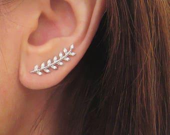 Boucles d'oreilles épis feuille de laurier ear-cuff contours de lobes zirconium argent 925/1000
