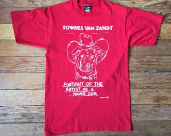 Townes Van Zandt Print by Stew.art on Vintage T-Shirt - Red