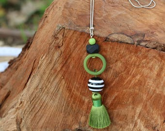 long beaded tassel necklace/ tassel necklace  in shades of green and black/ Large green tassel pendant/ long tassel necklace
